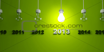 2013 New Year sign with light bulb