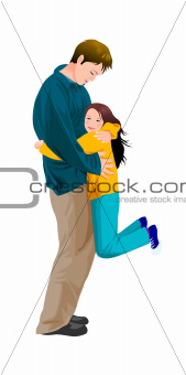 Portrait of girl hugging father