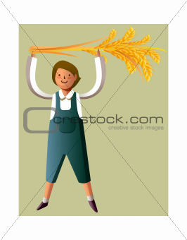 Portrait of boy holding grain stalks