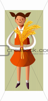 Portrait of girl holding grain stalks