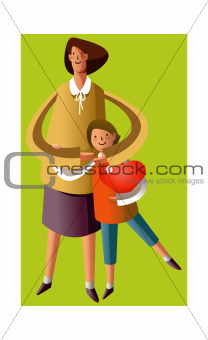 Portrait of mother and son holding heart shape