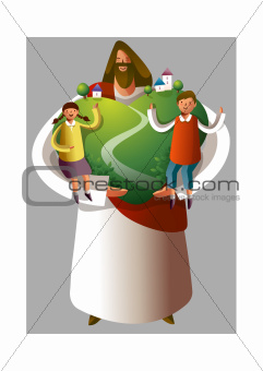Jesus Christ holding boy and girl and heart shape environment