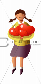 Portrait of girl holding hearts shape