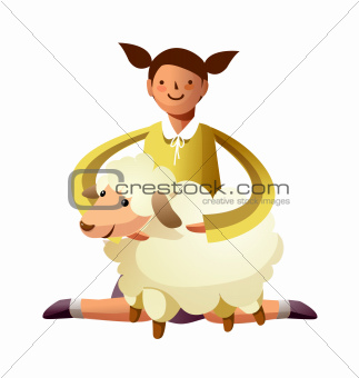 Portrait of girl with sheep in lap