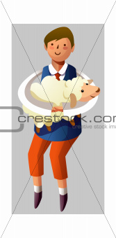 Portrait of boy holding sheep in hand