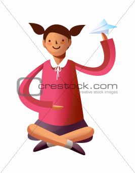 Portrait of girl holding paper plane