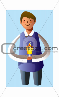 Portrait of boy holding candle