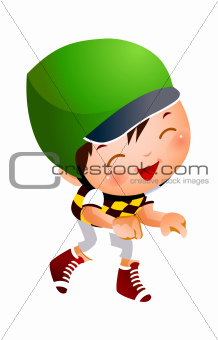 Boy wearing baseball outfit