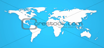 Hight Detailed 3D World Map on Blue Background