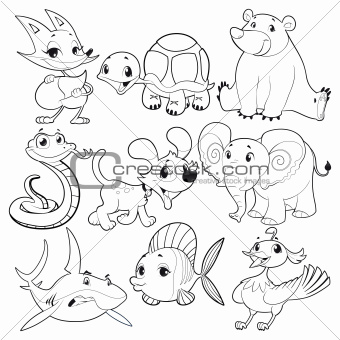 Set of animals in black and white.