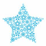 Christmas star made of star and snowflakes icons