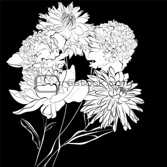 Template for card Peony flowers