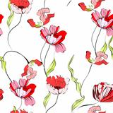Seamless background with tulips flowers