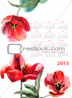 Calendar for 2013 with Beautiful Tulips flowers