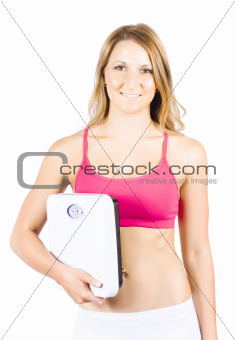 Isolated Woman With Smile Holding Weightloss Scales