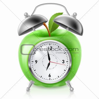 Green apple alarm clock