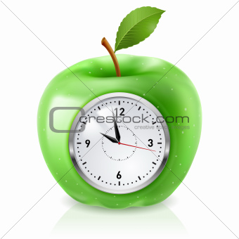 Green apple clock