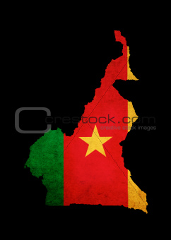 Map outline of Cameroon with flag grunge paper effect