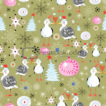 Christmas texture with gulls