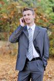businessman talks on the phone