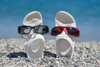 funny sandals on the beach