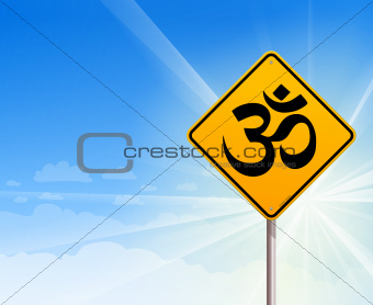 Om Yoga sign and blue sky