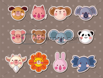 animal face stickers