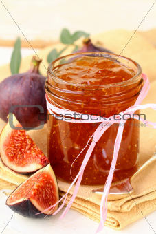 jam ripe purple figs with fresh fruit