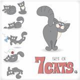 Set of seven playful cats