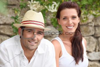A nice couple on a holiday trip.