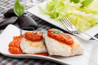 fish on sauce