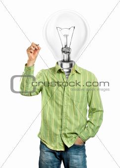 Lamp Head Businessman Writing Something