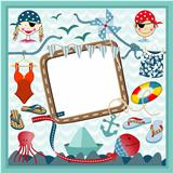Digital frame nautical pirates