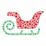 Christmas santa sleigh icon made of circles