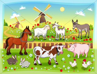 Farm animals with background.