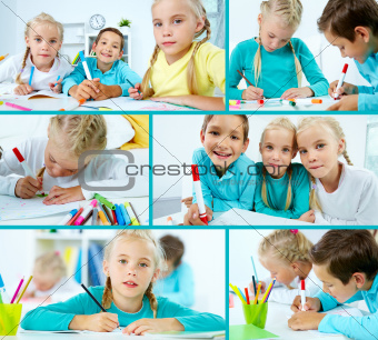 Schoolchildren drawing