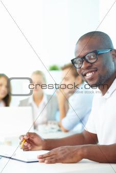 Guy studying