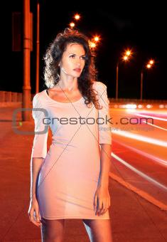 woman on night road