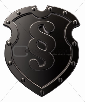 metal emblem with paragraph symbol
