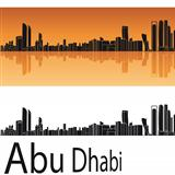 Abu Dhabi skyline in orange background