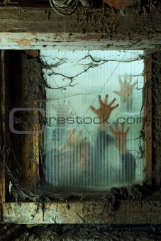 Zombies outside a window
