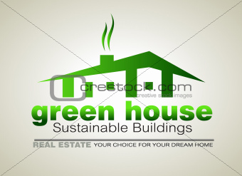 Green Eco sustainable  house icon