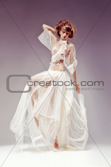 Romantic natural beauty. Fashion woman dancing