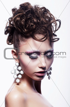 Hair salon concept - festive hairdo. Stylish hairstyle