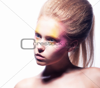 Expressive european girl - advertising makeup