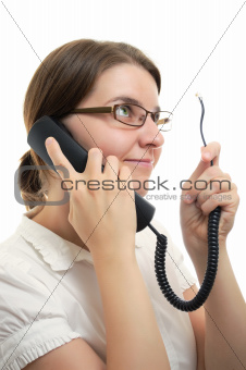 Businesswoman with Phone Receiver and Cord
