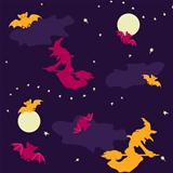 Witches and bats Halloween seamless background