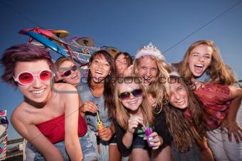 Cute Teen Girls Blowing Bubbles
