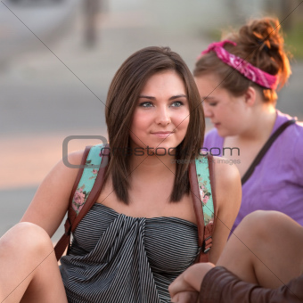 Calm Young Woman Sitting