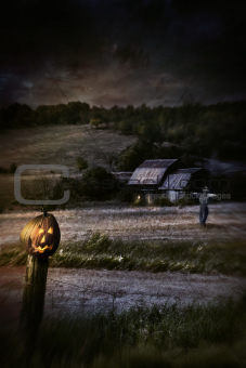 Eerie night scene with Halloween pumpkin on fence